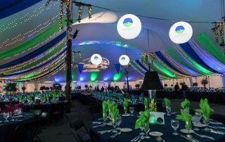 colored tent interior