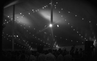 greyscale tent interior