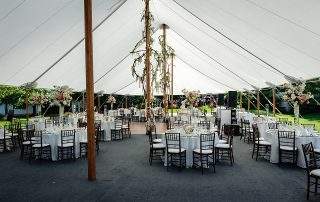 tables in tent interior