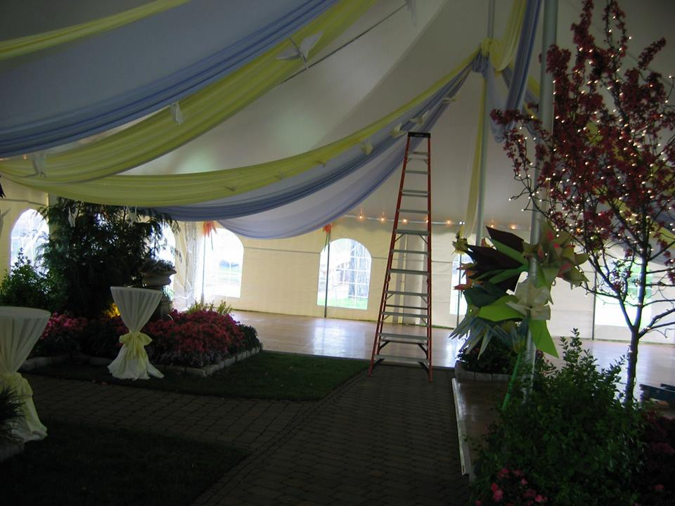 ladder in a large tent