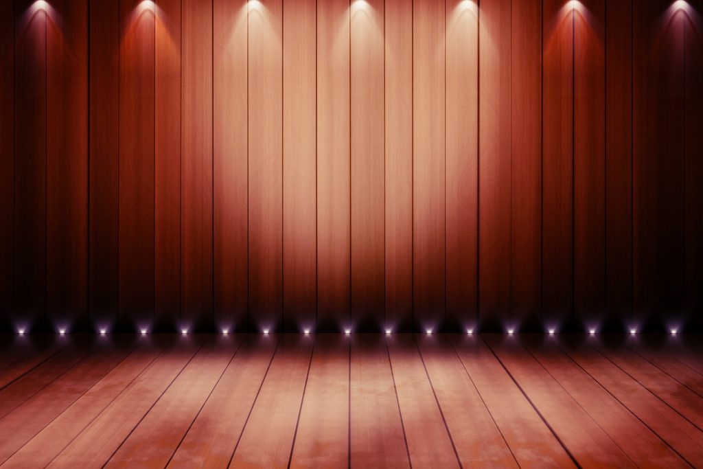 wooden stage with lighting