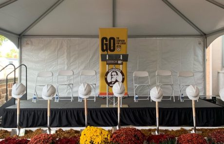 Stage for Groundbreaking Ceremony